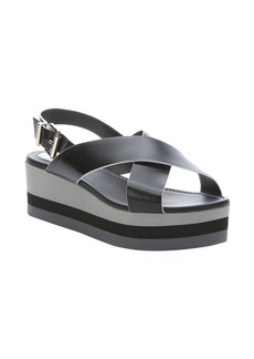 Fendi black and white leather 'Claire' platform sandals