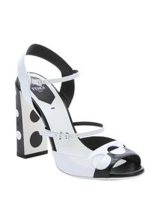 Fendi black and white leather polka dot strappy sandals
