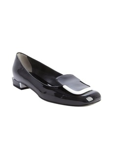 Fendi black and white patent leather buckle flats