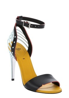 Fendi black and yellow leather caged t-strap sandals
