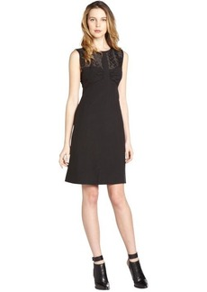 Fendi black cotton-silk blend semi-sheer cutout accent sleeveless dress