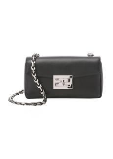 Fendi black leather chain link mini shoulder bag