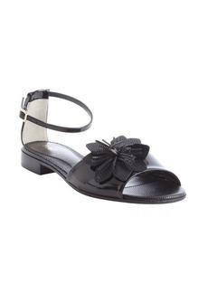 Fendi black leather flower detail anklestrap sandals