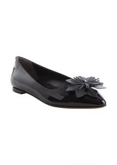 Fendi black leather flower detail pointed toe flats
