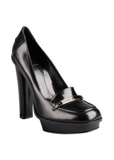 Fendi black leather logo platform loafers