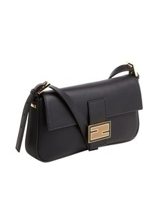 Fendi black leather mini baguette shoulder bag