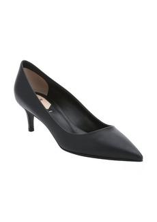 Fendi black leather pointed toe kitten heel pumps