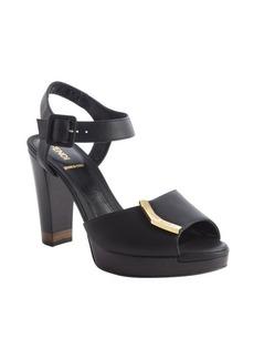 Fendi black leather 'Sanda O' sandals