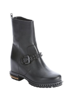 Fendi black leather spike accent biker boots