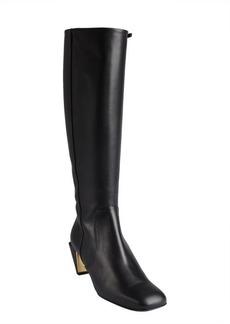 Fendi black leather square toe notched heel boots
