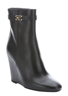 Fendi black leather wedge ankle boots