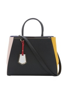 Fendi black, neon blue and rose colorblock leather '2 Jours' convertible tote bag