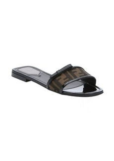 Fendi black patent leather and tobacco zucca canvas slide sandals