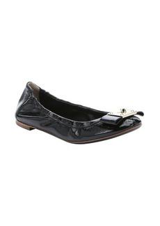Fendi black patent leather bow detail ballet flats