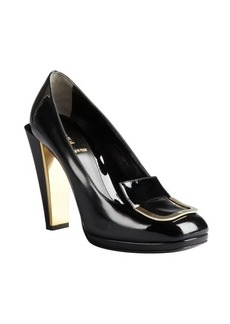 Fendi black patent leather buckle detail stacked heels