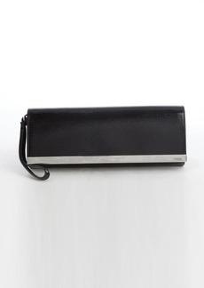 Fendi black patent leather wrist strap clutch