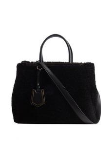 Fendi black shearling '2Jours' convertible bag