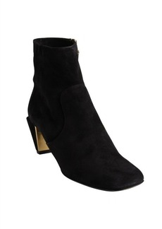 Fendi black suede angular heel ankle boots