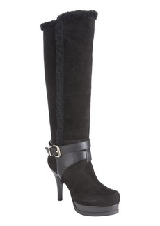 Fendi black suede shearling buckle detail boots