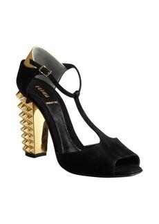 Fendi black suede studded heel t-strap peep toe sandals