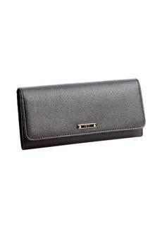 Fendi black textured leather continental wallet