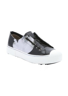 Fendi black, white and bluette orchid and dotted print lace up sneakers