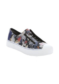 Fendi blue and black orchid print leather lace up sneakers