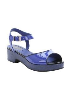 Fendi blue and black patent leather platform sandals