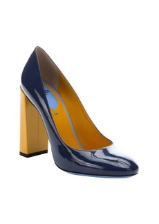Fendi blue and yellow patent leather 'Decollete' color block heels