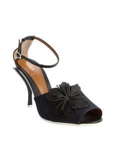Fendi blue canvas and black leather flower detail open toe pumps