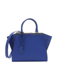 Fendi blue neon and pink leather '3 Jours' convertible top handle tote