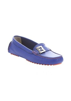Fendi blue neon leather moc toe driving loafers