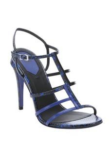 Fendi blue snake embossed leather t-strap sandals