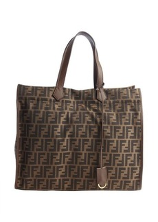 Fendi brown and black canvas leather accent zucca pattern tote
