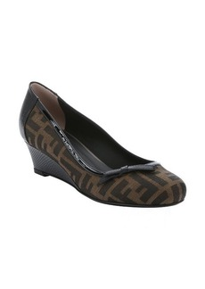 Fendi brown and black leather and zucca twill 'Isabel' bow detail wedges