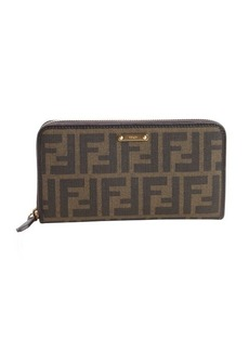 Fendi brown and cocoa zucca canvas leather accent zipper continental wallet