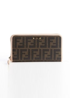 Fendi brown and petal pink zucca canvas leather accent zipper continental wallet
