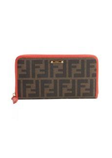 Fendi brown and poppy red zucca canvas zip continental wallet