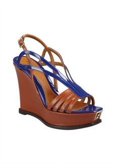 Fendi brown and purple leather wedge sandals