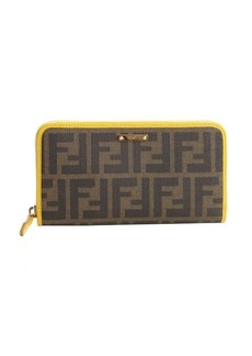 Fendi brown and yellow zucca canvas leather accent zipper continental wallet