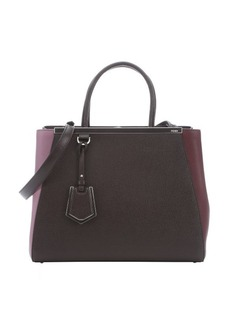 Fendi brown, burgundy and lilac colorblock leather '2Jours' Convertible Tote Bag