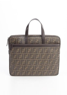 Fendi brown canvas and leather 'Zucca' printed slim briefcase