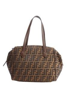 Fendi brown grained leather tri-zip top handle tote