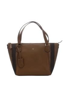 Fendi brown leather pequin jacquard trapeze bag