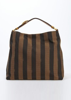 Fendi brown logo stripe canvas and orange leather hobo