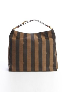 Fendi brown logo stripe canvas and pink leather hobo