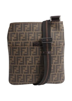 Fendi brown zucca pattern canvas leather accent shoulder bag