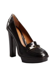 Fendi burnished brown leather logo platform loafers