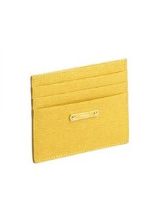 Fendi canary yellow textured leather logo plaque card case