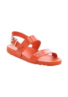 Fendi carrot leather strappy slingback sandals